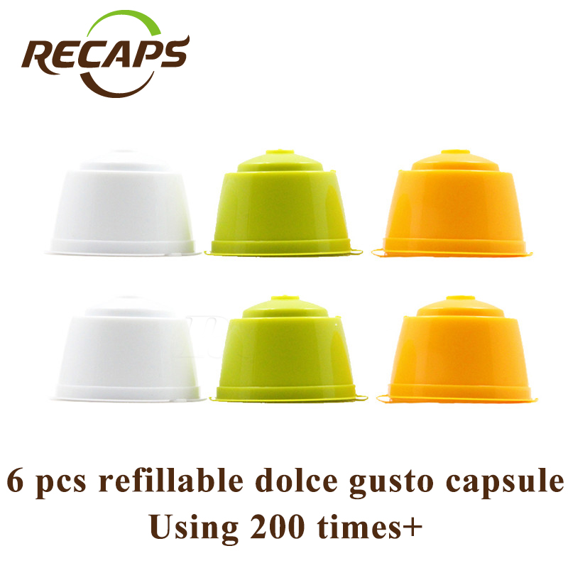 6pcs/pack Refillable Dolce Gusto coffee Capsule Refilling 300 times Nescafe Dolce Gusto Reusable dolce gusto capsules espresso(China (Mainland))