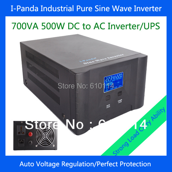500w power inverter 500w pure sine wave charger I-P-XD-700VA with LCD inverter charger UPS DC12V DC24V(China (Mainland))