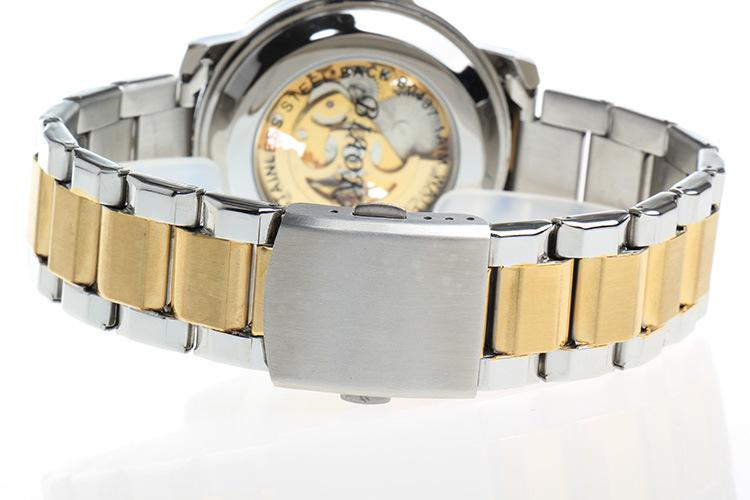 2016 Новый Бренд BIAOKA часы высокого класса дайвинг 100 м АТМ водонепроницаемый механические часы мужчины Полная Сталь Золото Скелет наручные часы