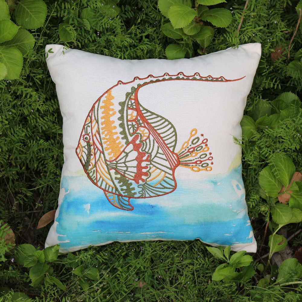 "VEZO HOME embroider sea animal fish cotton linen sofa chair seat cushions throw pillowcase home decorative pillows 18x18"" square(China (Mainland))"