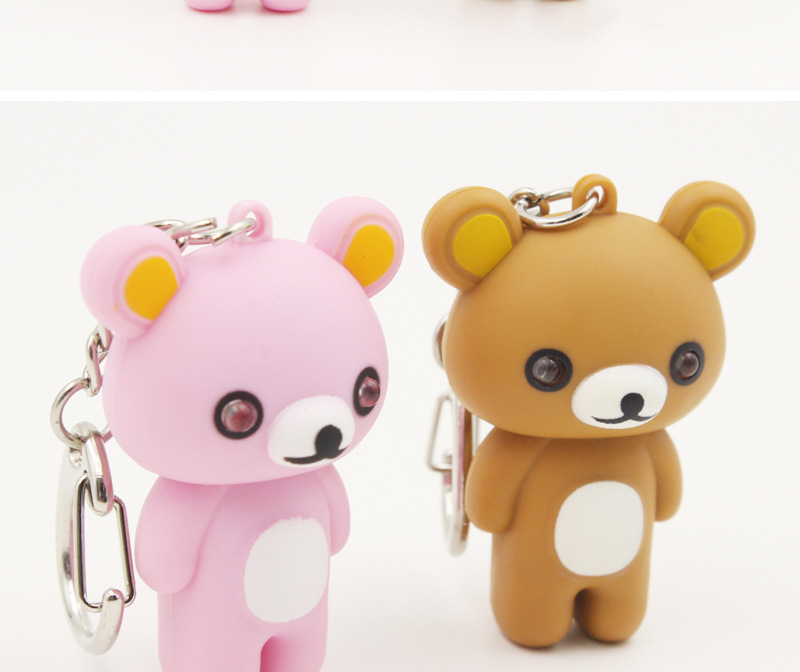 teddy bear LED sound light keychains flashlight sound ring kids toys cute cartoon teddy bear key chains child gift free dhl(China (Mainland))