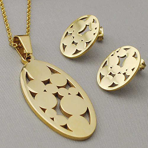 Round Oval pendant necklace/stud earrings set stainless steel jewellery sets fashion accessory women - No.3 Lady Jewelry store