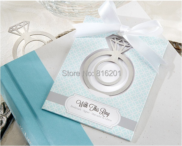 New Wedding Favor Ideas 2015 : 2015 New Arriver Wedding Ring Bookmarks Favors, Creative personalized ...