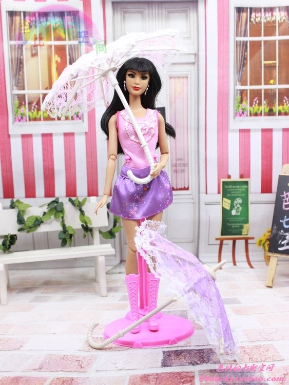 2016 new 5Pcs Randomly Choose Doll Equipment Handmade Doll's Plastic Lace Umbrella For barbie doll,doll equipment for barbie