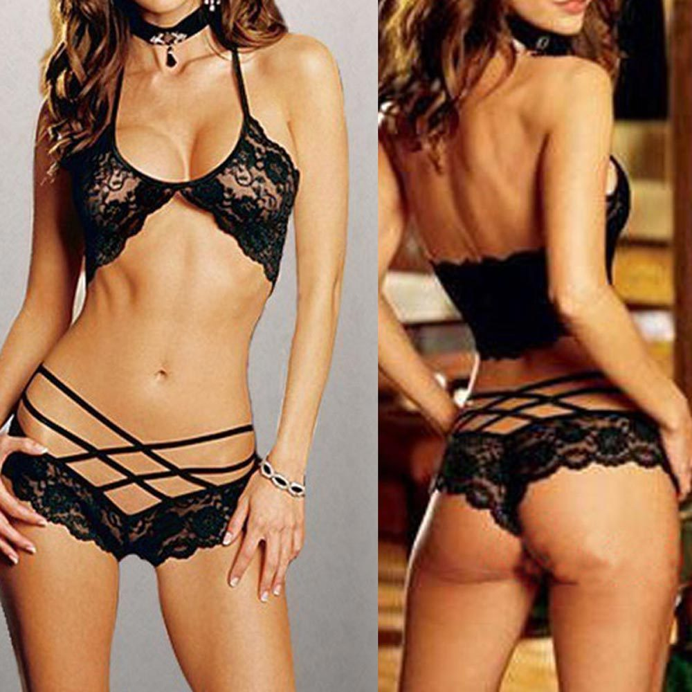 HOT SALE Free shipping Sexy Woman Lace Sleepwear Halter Underwear Lingerie G-string Black #TAE(China (Mainland))