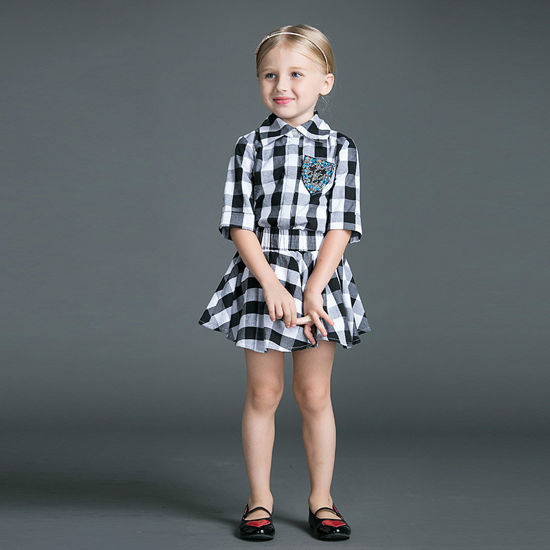 Tops Skirt Two Pieces European And American Style Black Plaid Girls Dresses Children's Clothes Family Matching Outfits(China (Mainland))