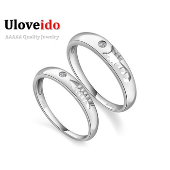 Wedding Couple Rings for Men and Women Engagement Silver Plated Cat Fish Ring Valentine's Day Fashion Crystal Rings Jewelry J259