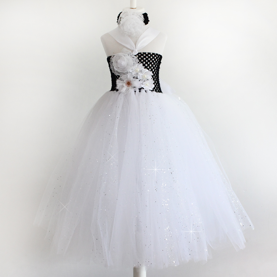 European and American Style Black and White baby girls flower tutu dress handmade Children's Dress for Party 1-7year(China (Mainland))