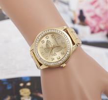 Mujer moda reloj ocasional de acero completo reloj oro relojes mujer relojes de lujo marca mujeres Rhinestone relojes para mujer relojes de pulsera de cuarzo