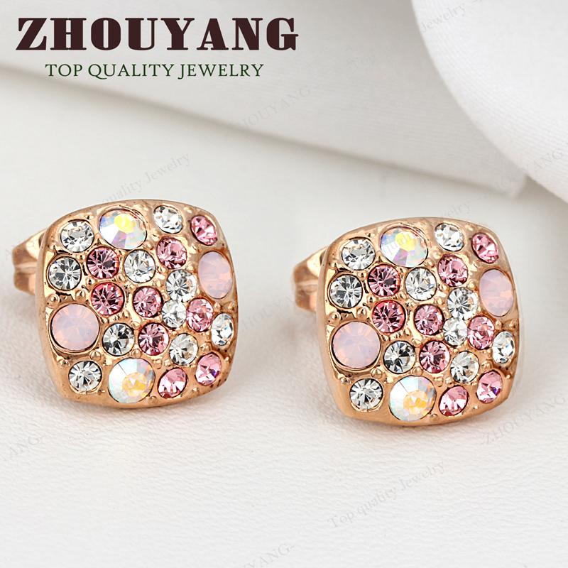 ZYE005 Pink Stars 18K Gold Plated Stud Earrings Jewelry Made with Genuine Austrian Crystal Wholesale(China (Mainland))
