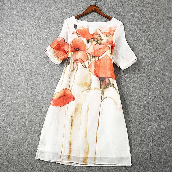 The new Europe and the United States womens spring 2016 The peacock spread out the fork under  flower printed silk linen dressОдежда и ак�е��уары<br><br><br>Aliexpress