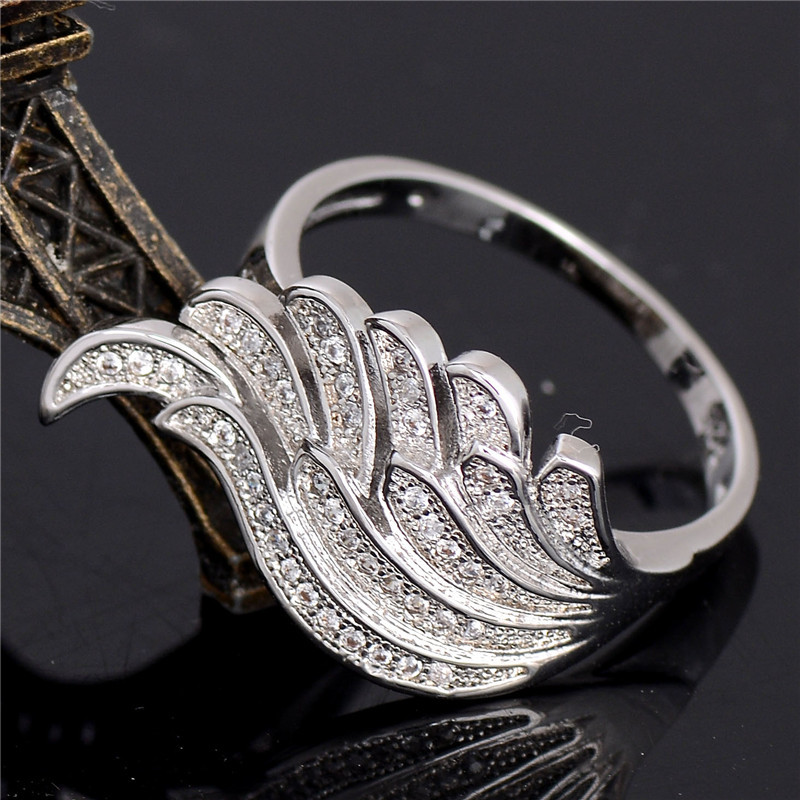 Wholesale 1pc Nice Jewelry 1pc Silver CZ Fantastic Angel Wings For Woman's Ring Size 6 7 8 9 10(China (Mainland))
