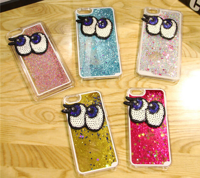 2015 NEW luxury for iphone 6 plus mobile phone cover quichsand cute big eyes with bling stars sand covers cell case for women(China (Mainland))