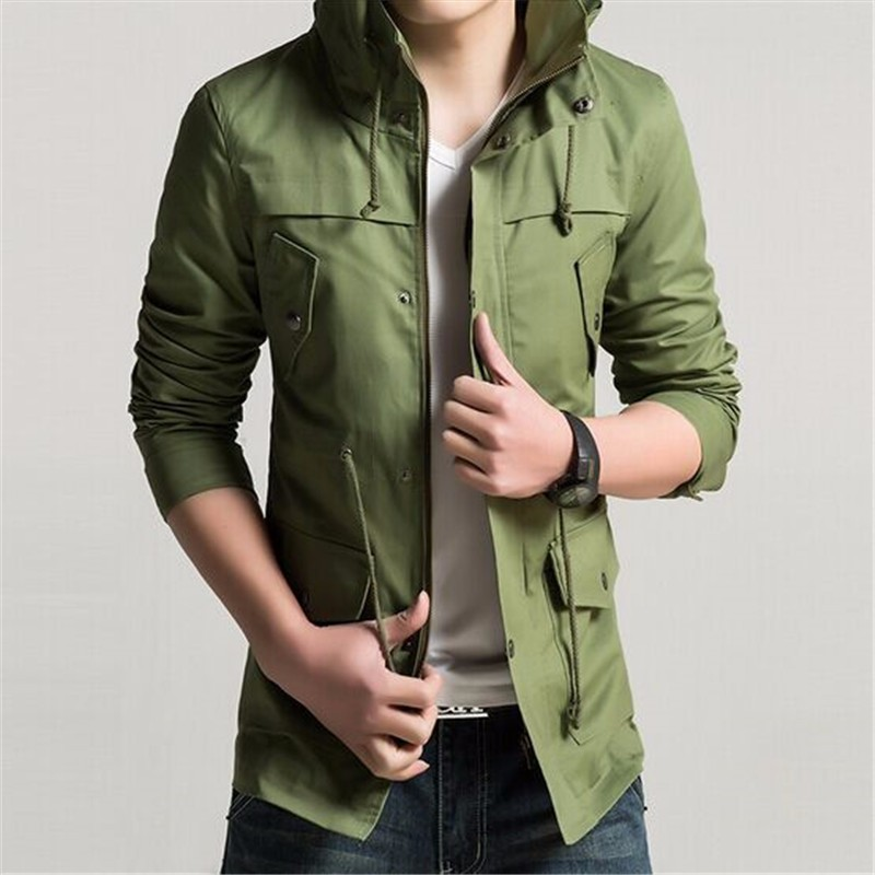 Free Shipping!2015 New Autumn Brand Korean Men's Slim Fit Jacket,Fashion Casual Single Breasted Men's Long Wind Coat,Plus Size(China (Mainland))