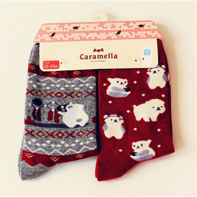 Марка Caramella симпатичные животные рай носки корейский каваи женщин белый медведь мультфильм носок симпатичные смешные хлопчатобумажные носки