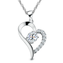 Silver Plated Cubic Zirconial Brand Love Heart Shape Pendant Necklaces Fashion Summer Jewelry for Women Wedding Bridal(China (Mainland))