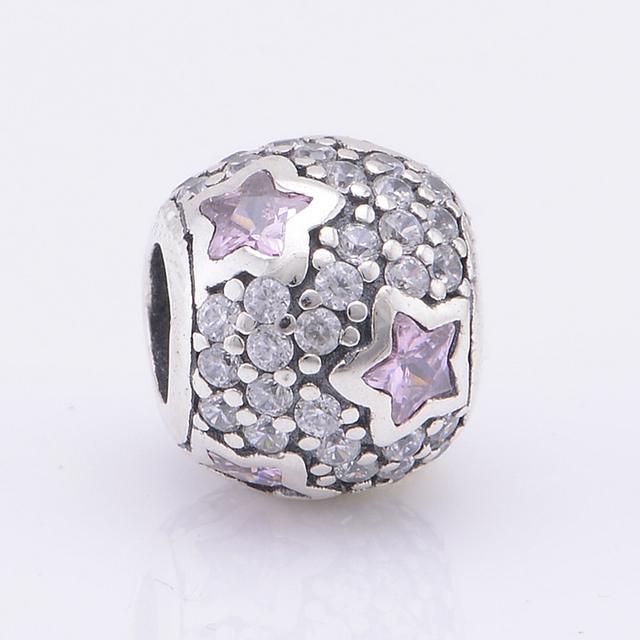 Подходит пандоры прелести браслет стерлингового серебра 925 вымощают мяч розовые звезды бусины женщин DIY ювелирных бесплатная доставка