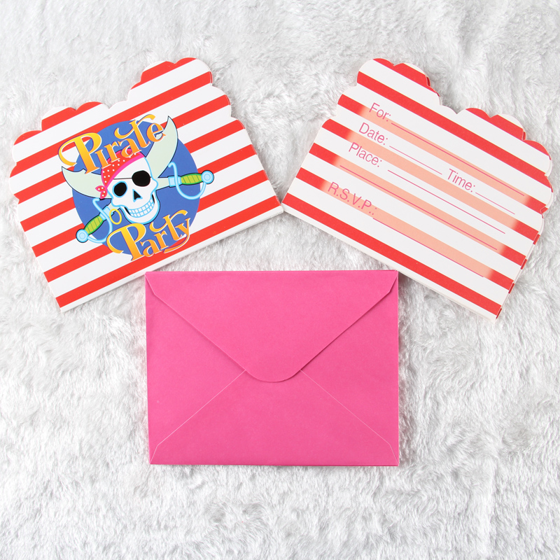 6pcs/pack Kids Boy Girl Baby Pirate Happy Birthday Party Decoration Kids Supplies Favors Invitation Cards(China (Mainland))