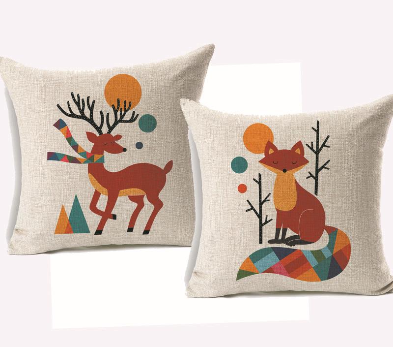 Deer and Fox hedgehog Cushion Cover Cartoon Tree Rabbit Balloon Pillowcase Boys and Girls Pillow Cover Wedding decor bedroom(China (Mainland))