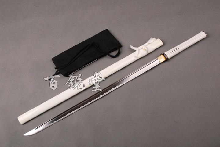 Fully white ninja katana straight blade Japanese samurai sword(China (Mainland))