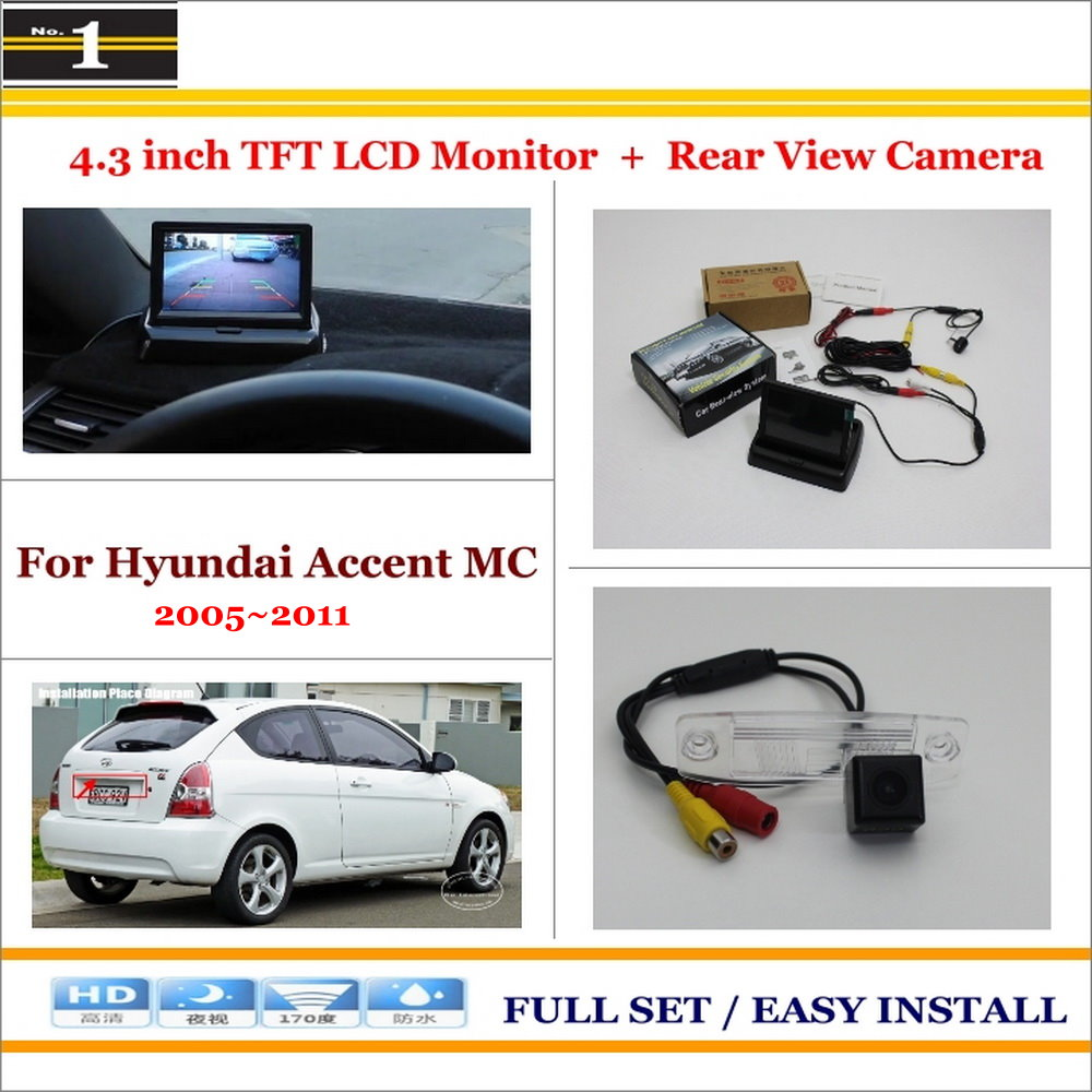 """Auto Rear View Camera Back Up + 4.3"""" LCD Monitor = 2 in 1 Parking Assistance System - For Hyundai Accent MC 2005~2011(China (Mainland))"""