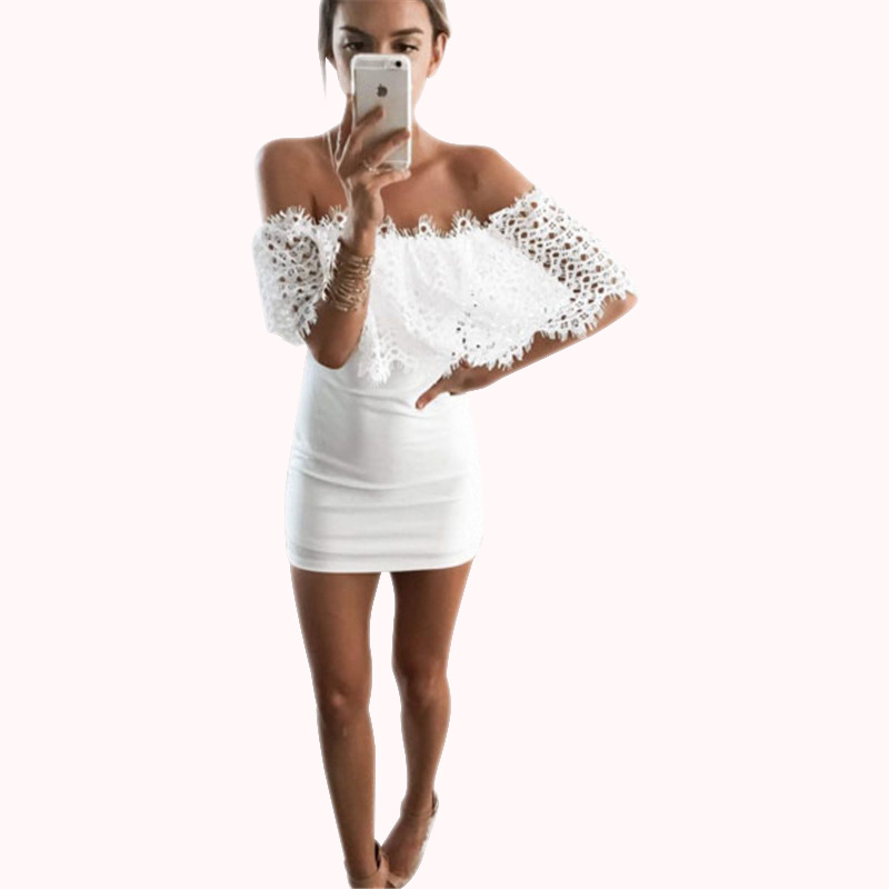 New Summer 2016 White Patchwork Lace Dress Women Sexy Off the Shoulder Party Dress Lady Sexy Club Summer Mini Dress Hot(China (Mainland))