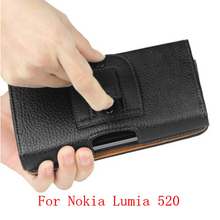 New Black Business Universal Holster Waist hanging Belt Clip PU Leather Pouch Cell Phone Bag Cover Case For Nokia Lumia 520