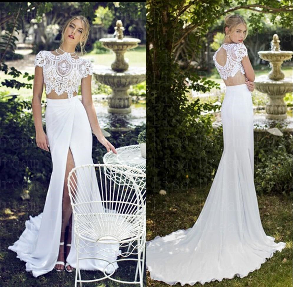 Cheap wedding dresses made in china 2015 short sleeves for Wedding dresses 2 piece