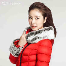 2015 Hot Thicken Warm Woman Down Jacket Slim Coats Outerwear Fur Collar Hooded Parka Mid Long Luxury Plus Size 2xxl Free Black