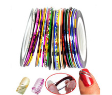 30Pcs 30 Multicolor Mixed Colors Rolls Striping Tape Line Nail Art Decoration Sticker DIY Nail Tips(China (Mainland))