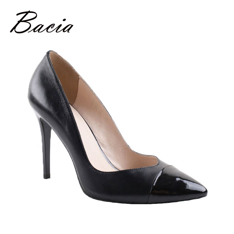 Bacia Leather pointe shoes Black womens shoes heels Sheepskin Pumps zapatos mujer tacon 9.5cm Heels Ladies Party Shoes VA005(China (Mainland))