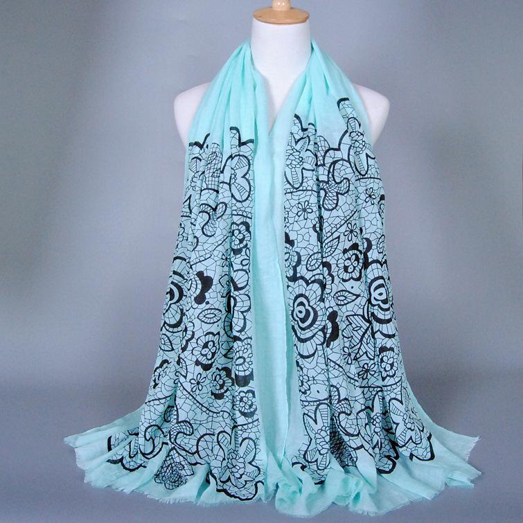 2016 New Fashon Print Voile Scarf 7 Colors Blue and White Muslim Hijab Women Scarf Shawl Foulard Women Shawl Cachecol Wholesale(China (Mainland))