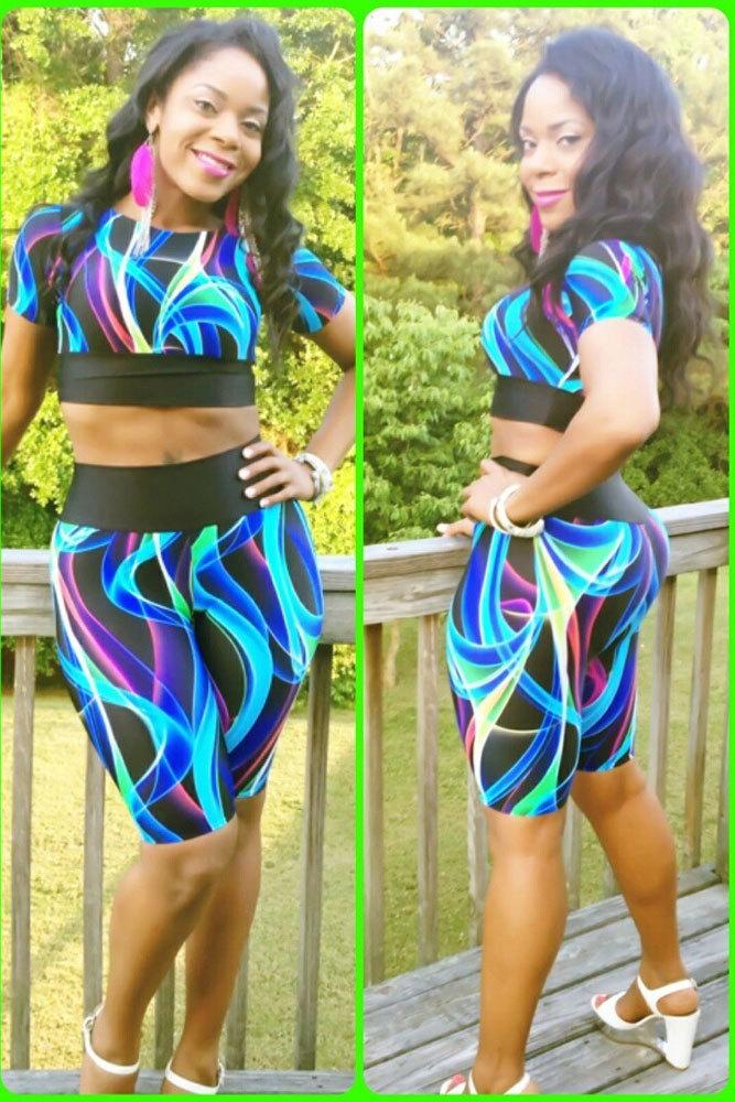 Colorful Print Pant Set new 2015 women fashion two piece set crop top pants Tight-fitting 21527