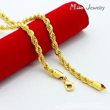High Quality 24K Gold Necklaces Jewelry Wholesale Chain Men Necklaces(China (Mainland))