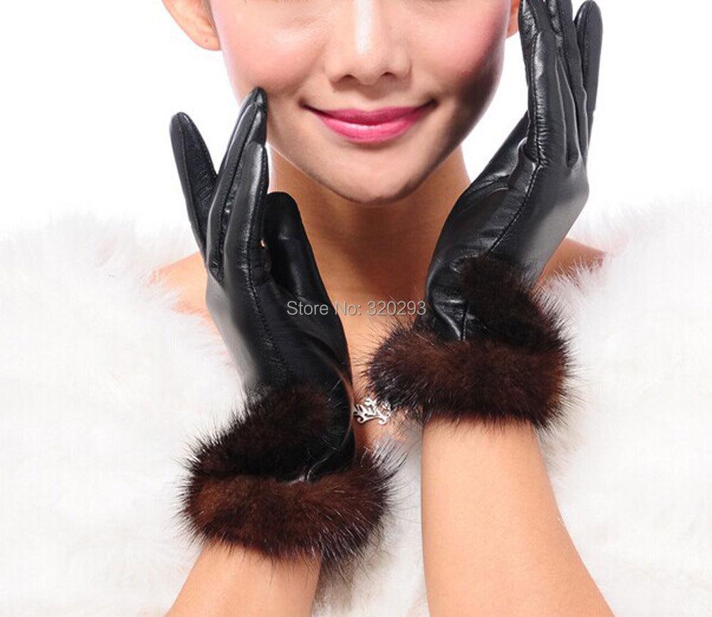 Fashion New Women's Genuine Sheepskin Leather Mink Fur Warm Winter Gloves F156 - Hishopping store