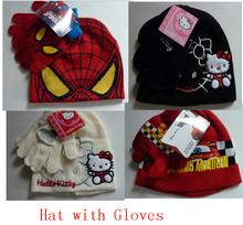 New Reital 1 set Spring hat baby winter baby hat gloves Spiderman Hello Kitty  Car caps woolen hats baby boys cartoon 2pcs suit(China (Mainland))