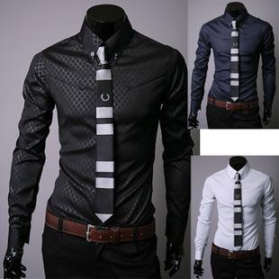 2014NEW Free shipping Men's Shirts Male boutique dark grain ling men long sleeve shirt men's clothing Color:3 colors Size:M-XXXL(China (Mainland))