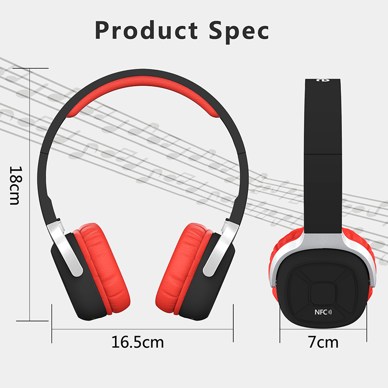 New Bee NFC Pedometer Bluetooth headset High quality Hot New Stereo Headphone Red Music Wireless Folding For Smartphone