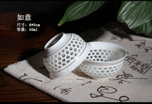 Free Shipping Delicate Hollow Blue and White Porcelain Tea Cup Fetal thin translucent ceramic kung fu