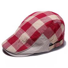 Red Vintage Men Women Newsboy Beret Hat  Summer British Style Golf Driving Flat Cabbie Checked Duckbill Cap Hot(China (Mainland))