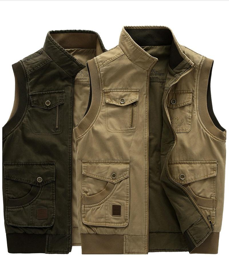2015 new autumn men outdoor vest men cotton coat both sides wear director of journalist photographer vest jacket L-9XL(China (Mainland))