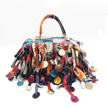 2016 Luxury Genuine Leather Women's Color Patchwork Handbag Tassel Cross-body Shoulder Messenger Clutch