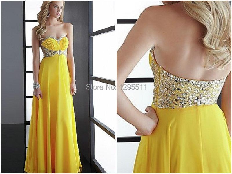 Robe longue jaune soiree