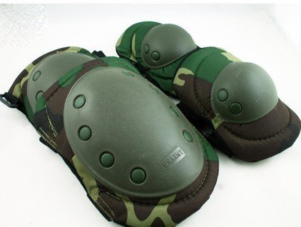 Paintball Airsoft Knee and Elbow Pads Woodland green