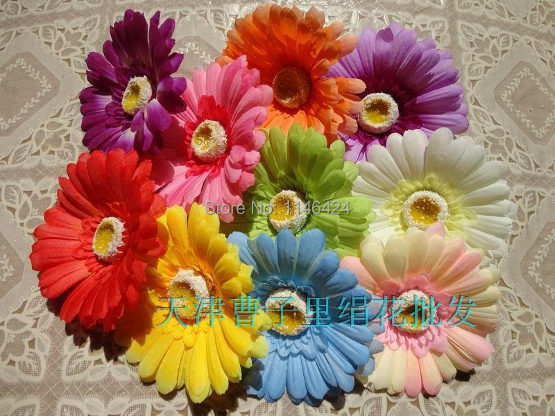 Free Shipping Artificial Gerbera Silk Sunflower Daisy Flowers Mix Colors 50 pieces/lot(China (Mainland))