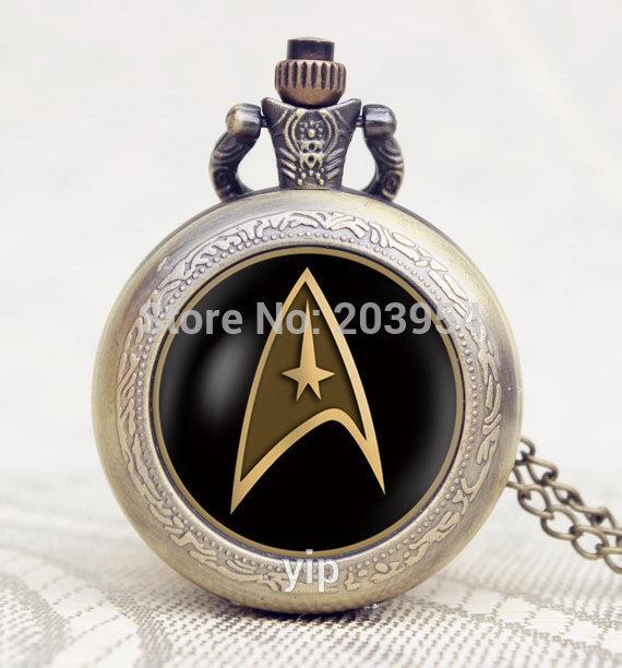 Handmade Star Trek Captain Kirk pocket watches 1pcs lot Commander Spock locket necklaces girlfriend gift Bridesmaid
