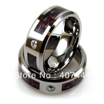 Free Shipping!Wholesales USA Hot Sales E&amp;C Jewelry Mens Tungsten Ring With Red Carbon Fiber &amp;CZ Stud His/Her Best Wedding Rings<br><br>Aliexpress