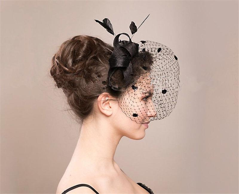 Feather Fascinator Hair Accessories Bridal Birdcage Veil Hat Wedding Hats And Fascinators Chapeu Feminino Cabelo WIGO0690