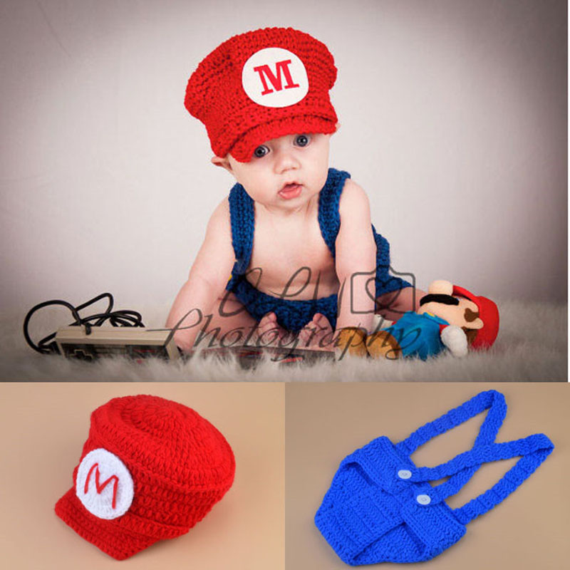 Crochet Newborn Baby Photo Props Super Mario Inspired Beanie Hat&amp;Diaper Cover Set Knitted Boy Photo Costume H252<br><br>Aliexpress