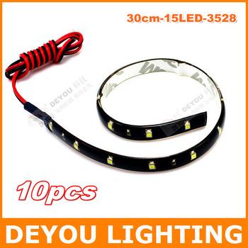 Factory sale  10pcs/lot 15SMD LED Flexible Strip Light Bar  LED car drl Light  Car Lighting  waterproof. free shipping